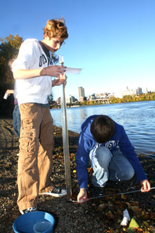 "Students from Tech Valley High School measured turbidity at the Rensselaer boat landing as part of ""A Day in the Life of the Hudson River."" Photo courtesy of Michael McCagg."